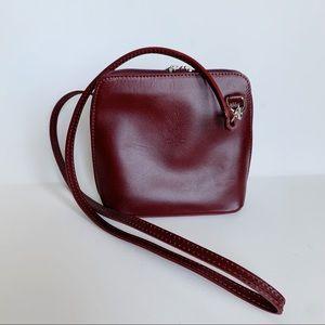Vera Pelle Burgundy Small Crossbody Purse Leather